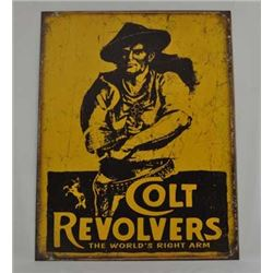 Aged  Processed Metal Tin Sign 'Colt Revolvers' :$39.00