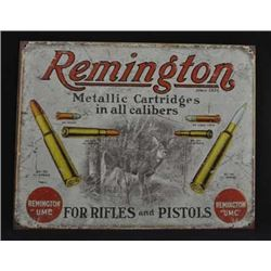 Aged Processed Metal  Sign 'Remington For Rifles and Pistols' :$45.00