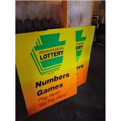 (2) METAL PENNSYLVANIA LOTTERY SIGNS, LG