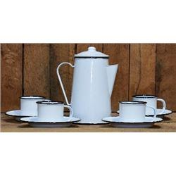 Reproduction Coffee Set, 10Pc White, Enamel $59.00