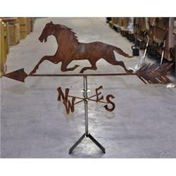 Running Horse Weathervane, Handcrafted Iron, Natural Rusty
