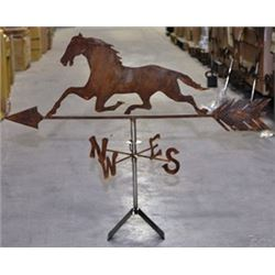 Running Horse Weathervane, Handcrafted Iron, Natural Rusty