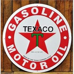 24 INCH VINTAGE ENAMEL TEXACO SIGN $79.00