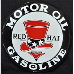 METAL VINTAGE RED HAT GAS SIGN / METAL