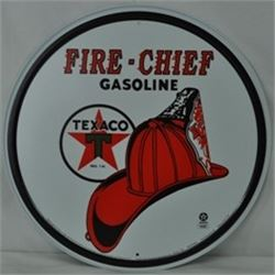 12 INCH EMBOSSED VINTAGE TEXACO FIRE CHIEF SIGN $ 49.00