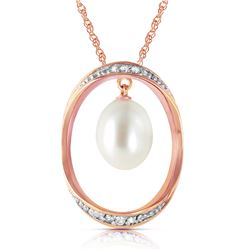 Genuine 4.1 ctw Pearl & Diamond Necklace Jewelry 14KT Rose Gold - REF-99K3V