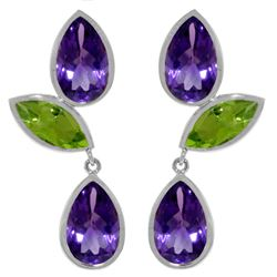Genuine 13.6 ctw Amethyst & Peridot Earrings Jewelry 14KT White Gold - REF-62P4H