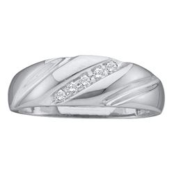 0.10 CTW Diamond Mens Lightweight Wedding Ring 14k White Gold - REF-19N4F