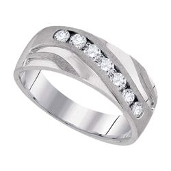 0.50 CTW Mens Diamond Wedding Ring 10KT White Gold - REF-63F8N