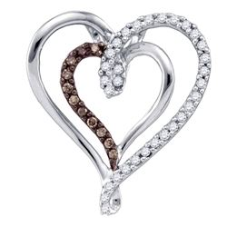 0.24 CTW Cognac-brown Color Diamond Double Nested Heart Pendant 10KT White Gold - REF-22Y4X