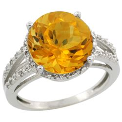 Natural 5.34 ctw Citrine & Diamond Engagement Ring 14K White Gold - REF-45V5F