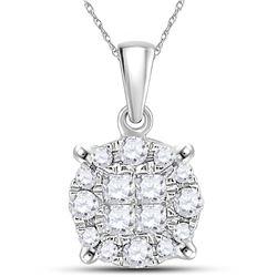 0.25 CTW Princess Diamond Soleil Cluster Pendant 14KT White Gold - REF-26M9H
