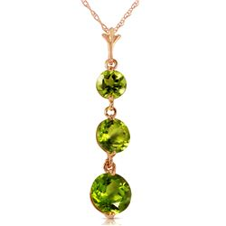 Genuine 3.6 ctw Peridot Necklace Jewelry 14KT Rose Gold - REF-24X4M