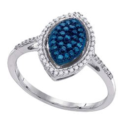 0.26 CTW Blue Color Diamond Oval Cluster Ring 10KT White Gold - REF-22N4F