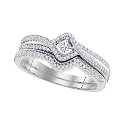 0.33 CTW Princess Diamond Bridal Engagement Ring 10KT White Gold - REF-40Y4X