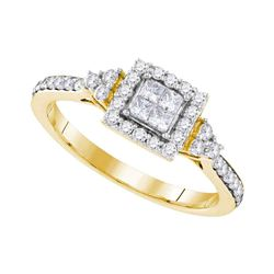0.50 CTW Princess Diamond Square Cluster Ring 10KT Yellow Gold - REF-52N4F