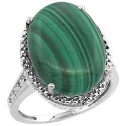 Natural 14.04 ctw Malachite & Diamond Engagement Ring 14K White Gold - REF-58H9W