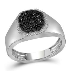 0.76 CTW Mens Black Color Diamond Octagon Cluster Ring 10KT White Gold - REF-49M5H