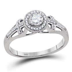 0.38 CTW Diamond Bridal Wedding Engagement Anniversary Ring 10KT White Gold - REF-55N5F