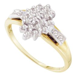 0.25 CTW Prong-set Diamond Oval Cluster Ring 10KT Yellow Gold - REF-18K2W