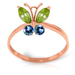 Genuine 0.60 ctw Peridot & Blue Topaz Ring Jewelry 14KT Rose Gold - REF-28R9P