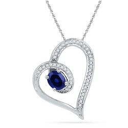 0.76 CTW Oval Created Blue Sapphire Heart Outline Pendant 10KT White Gold - REF-19N4F