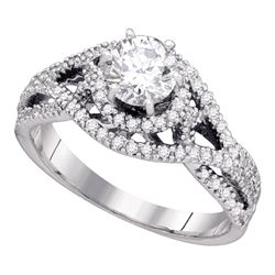0.88 CTW Diamond Woven Openwork Bridal Wedding Engagement Ring 14K White Gold - REF-142F4N