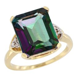 Natural 5.44 ctw mystic-topaz & Diamond Engagement Ring 10K Yellow Gold - REF-32Z2Y