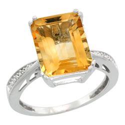 Natural 5.42 ctw Citrine & Diamond Engagement Ring 14K White Gold - REF-61Z9Y