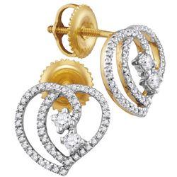 0.25 CTW Diamond 2-stone Heart Earrings 10KT Yellow Gold - REF-22Y4X