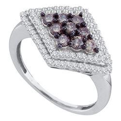 0.80 CTW Cognac-brown Color Diamond Diagonal Cluster Ring 10KT White Gold - REF-32W9K