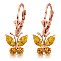 Genuine 1.24 ctw Citrine Earrings Jewelry 14KT Rose Gold - REF-38R2P