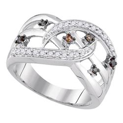 0.33 CTW Cognac-brown Color Diamond Openwork Crossover Strand Ring 10KT White Gold - REF-37X5Y