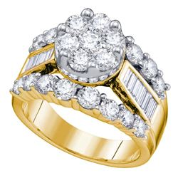 2.99 CTW Diamond Cluster Bridal Engagement Ring 14KT Yellow Gold - REF-322X3Y