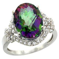 Natural 5.89 ctw mystic-topaz & Diamond Engagement Ring 14K White Gold - REF-88R8Z