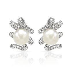 11.24 CTW Pearl & Diamond Earrings 18K White Gold - REF-110M6F