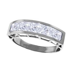 Genuine 2.25 ctw Aquamarine Ring Jewelry 14KT White Gold - REF-60N3R