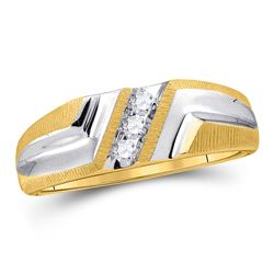 0.11 CTW Mens Diamond Wedding Ring 10KT Yellow Gold - REF-20H9M