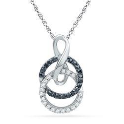 0.20 CTW Black Color Diamond Double Circle Pendant 10KT White Gold - REF-14K9W