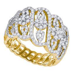 1.02 CTW Diamond Cluster Fashion Ring 10KT Yellow Gold - REF-86K8W