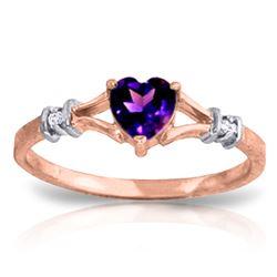 Genuine 0.47 ctw Amethyst & Diamond Ring Jewelry 14KT Rose Gold - REF-27M2T