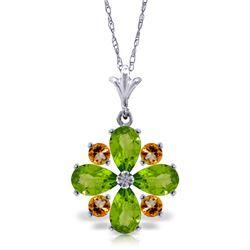 Genuine 2.43 ctw Peridot & Citrine Necklace Jewelry 14KT White Gold - REF-29H7X