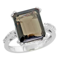 Natural 5.48 ctw Smoky-topaz & Diamond Engagement Ring 14K White Gold - REF-51Z4Y