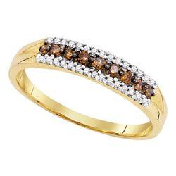 0.20 CTW Cognac-brown Color Diamond Ring 10KT Yellow Gold - REF-14H9M