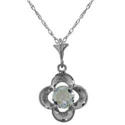 Genuine 0.55 ctw Aquamarine Necklace Jewelry 14KT White Gold - REF-20Z9N