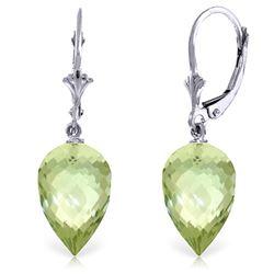 Genuine 19 ctw Green Amethyst Earrings Jewelry 14KT White Gold - REF-35K9V