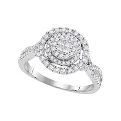 0.51 CTW Princess Diamond Soleil Cluster Bridal Engagement Ring 14KT White Gold - REF-67Y4X