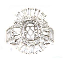 2.65 CTW Diamond Semi Mount Ring 14K White Gold - REF-296F3N