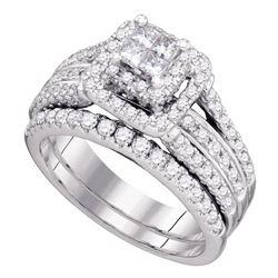 1.2 CTW Princess Diamond Bridal Engagement Ring 14KT White Gold - REF-157N5F