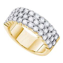 1.5 CTW Diamond 3-row Wedding Anniversary Ring 14KT Yellow Gold - REF-172F4N